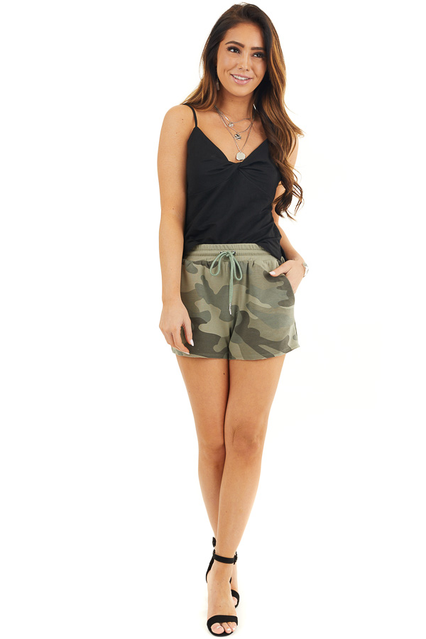 Olive Camo Print Shorts with Drawstring Waist and Pockets front full body