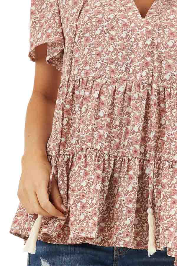 Dusty Rose Floral Print Short Sleeve Top with V Neckline detail