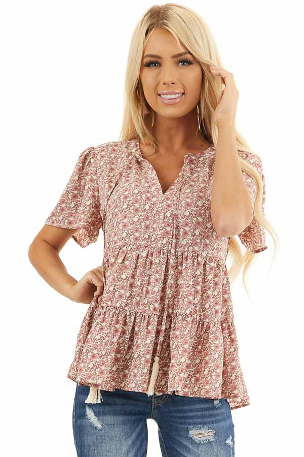 Dusty Rose Floral Print Short Sleeve Top with V Neckline front close up