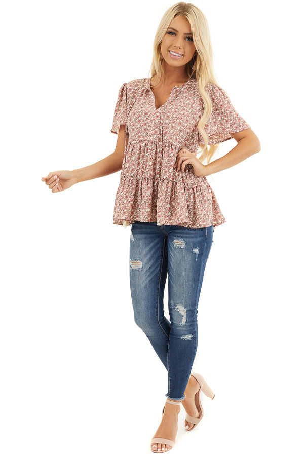 Dusty Rose Floral Print Short Sleeve Top with V Neckline front full body