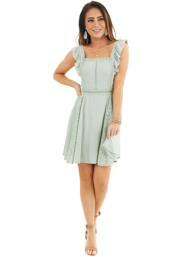 Sage Sleeveless Short Woven Dress with Lace Details front full body