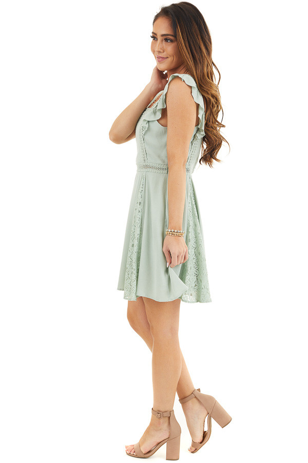 Sage Sleeveless Short Woven Dress with Lace Details side full body