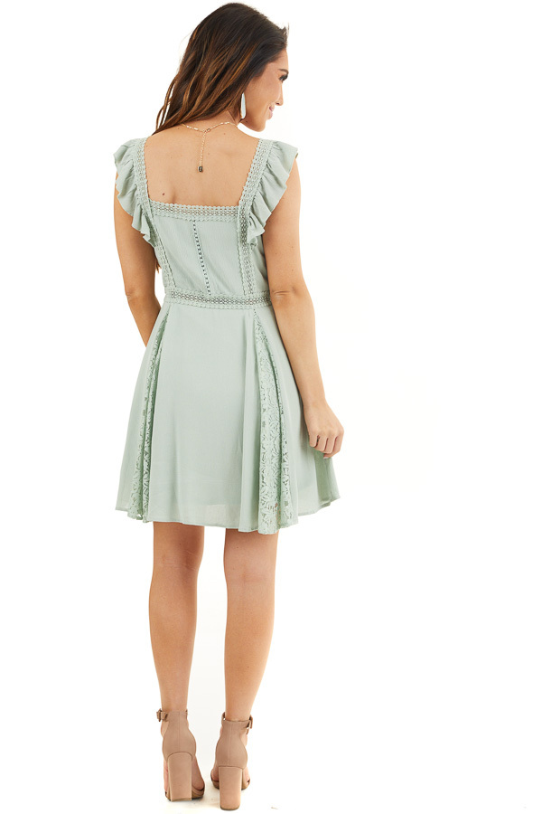 Sage Sleeveless Short Woven Dress with Lace Details back full body