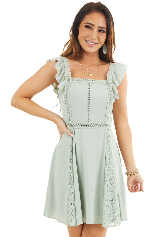 Sage Sleeveless Short Woven Dress with Lace Details front close up