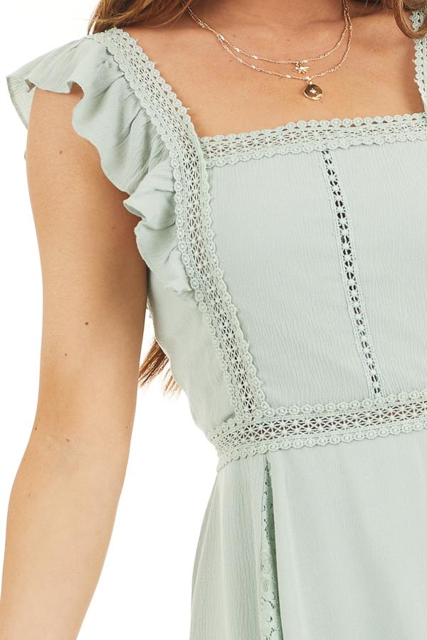 Sage Sleeveless Short Woven Dress with Lace Details detail