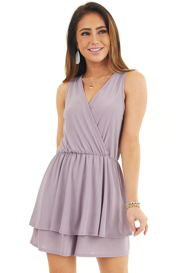 Lavender Textured Knit Surplice Romper with Ruffle Overlay front close up