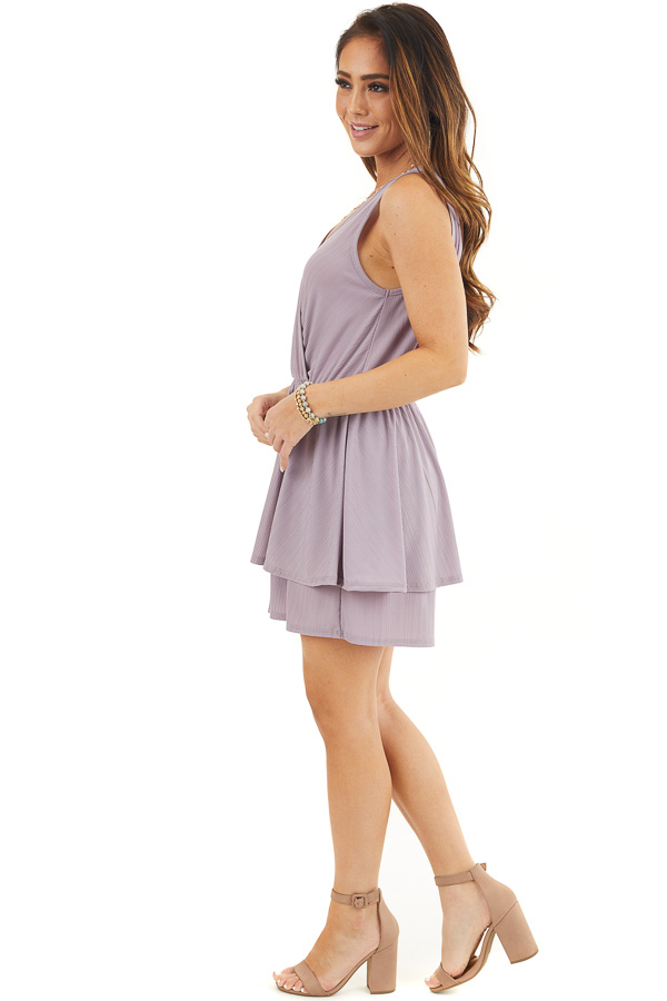 Lavender Textured Knit Surplice Romper with Ruffle Overlay side full body