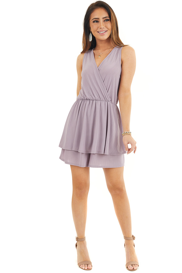 Lavender Textured Knit Surplice Romper with Ruffle Overlay front full body