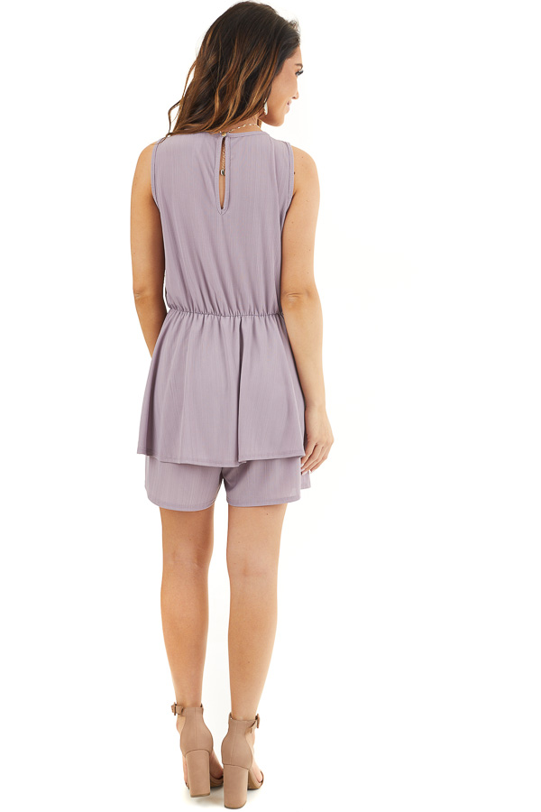Lavender Textured Knit Surplice Romper with Ruffle Overlay back full body