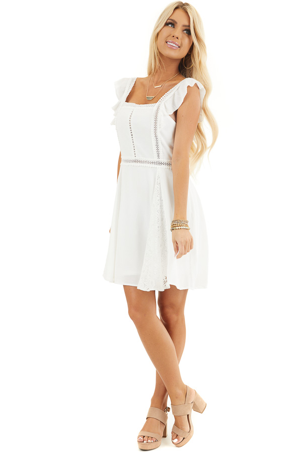 White Sleeveless Short Woven Dress with Lace Details front full body