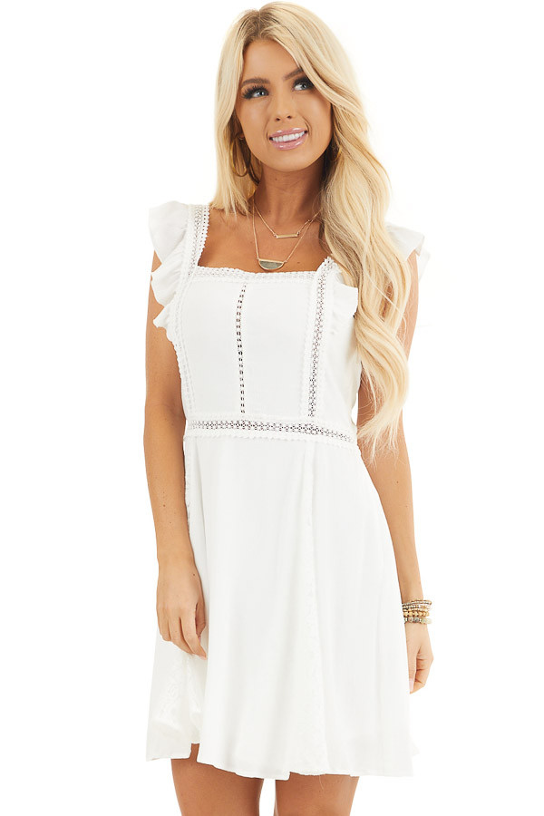 White Sleeveless Short Woven Dress with Lace Details front close up