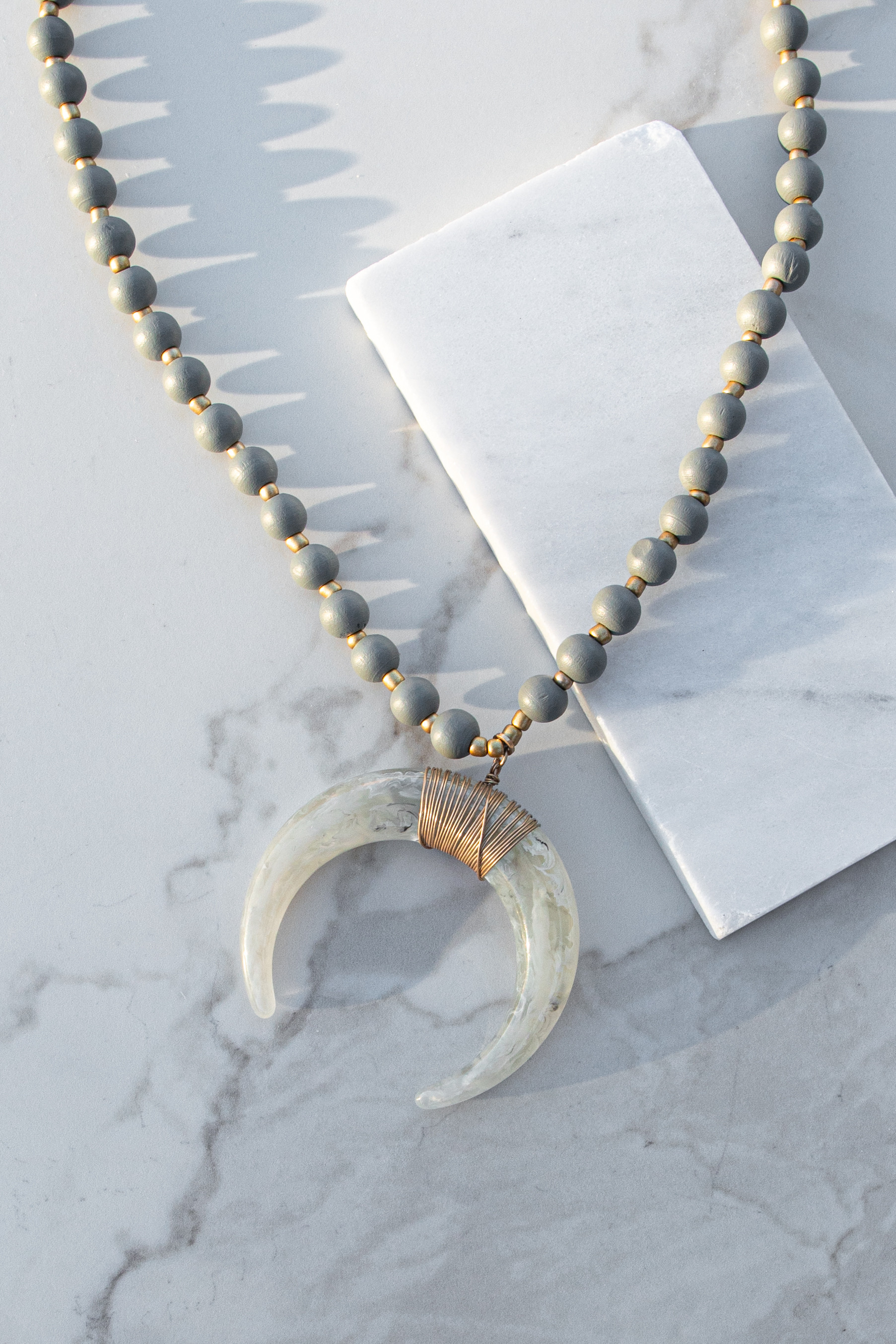Grey Chunky Beaded Long Necklace with Crescent Horn Pendant