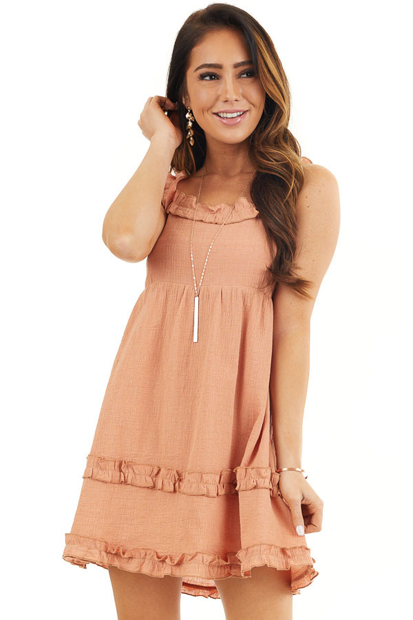 Apricot Sleeveless Woven Mini Dress with Open Tie Back front close up