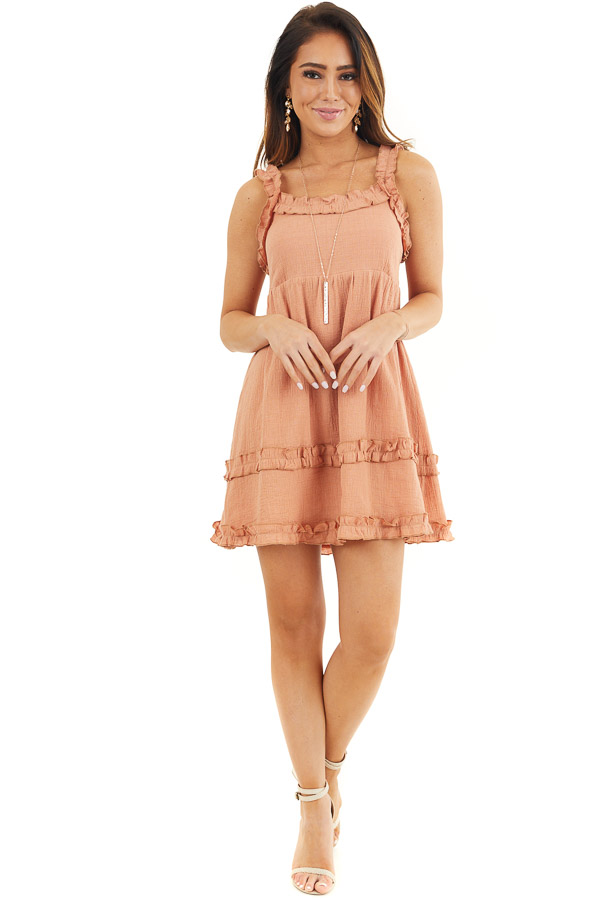 Apricot Sleeveless Woven Mini Dress with Open Tie Back front full body