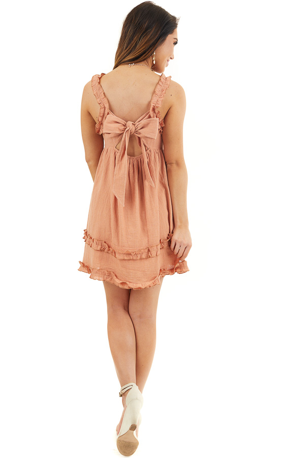 Apricot Sleeveless Woven Mini Dress with Open Tie Back back full body
