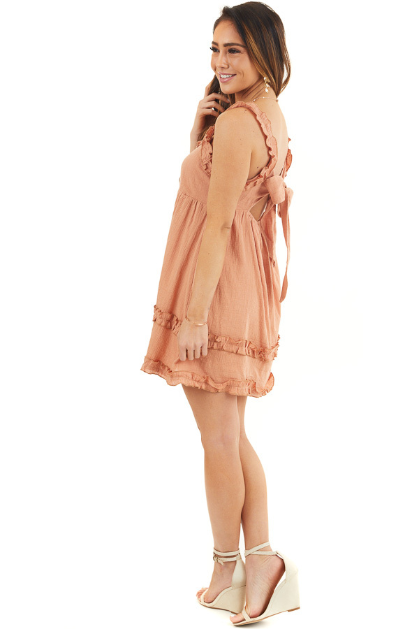 Apricot Sleeveless Woven Mini Dress with Open Tie Back side full body