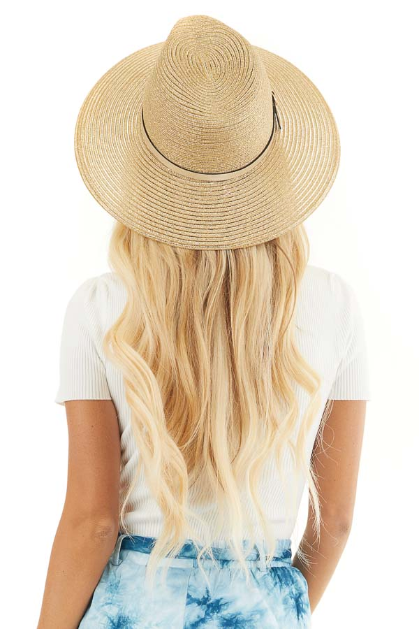 Metallic Gold Straw Panama Hat with Gold Belt Accent