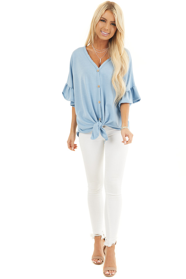Baby Blue Short Sleeve Knit Top with Button Up Front Detail front full body