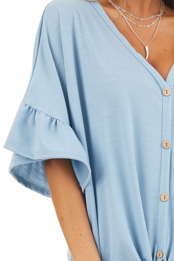 Baby Blue Short Sleeve Knit Top with Button Up Front Detail detail
