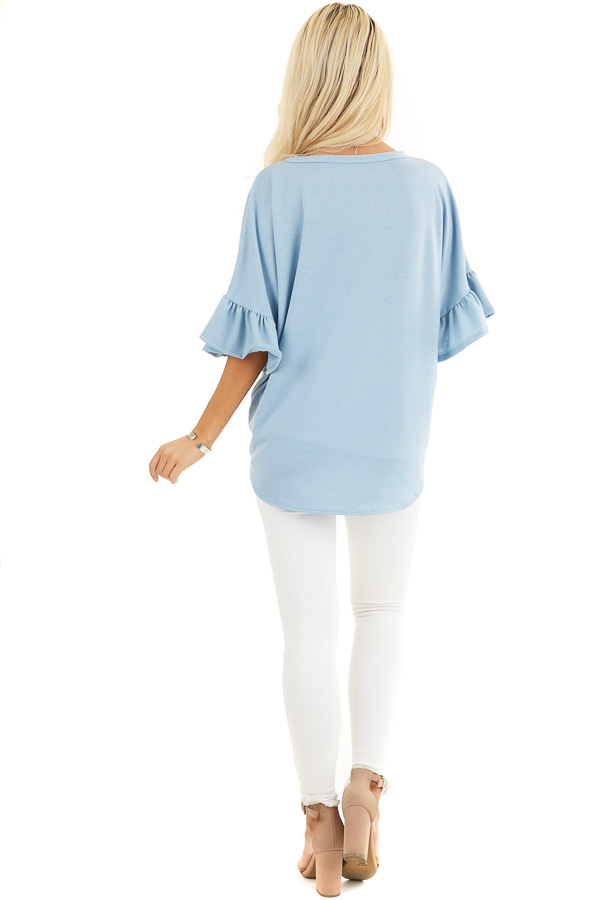 Baby Blue Short Sleeve Knit Top with Button Up Front Detail back full body
