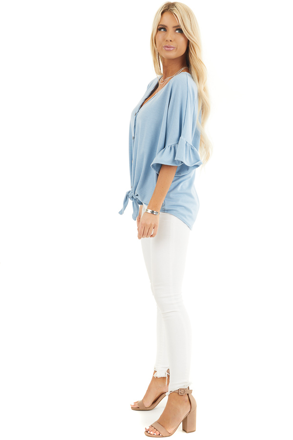 Baby Blue Short Sleeve Knit Top with Button Up Front Detail side full body