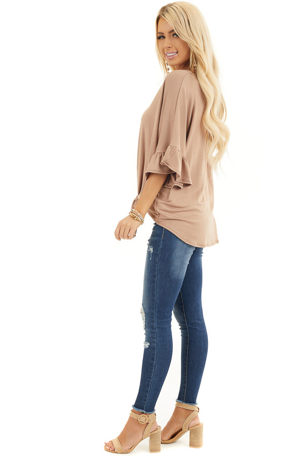 Latte Short Sleeve Knit Top with Button Up Front Detail side full body
