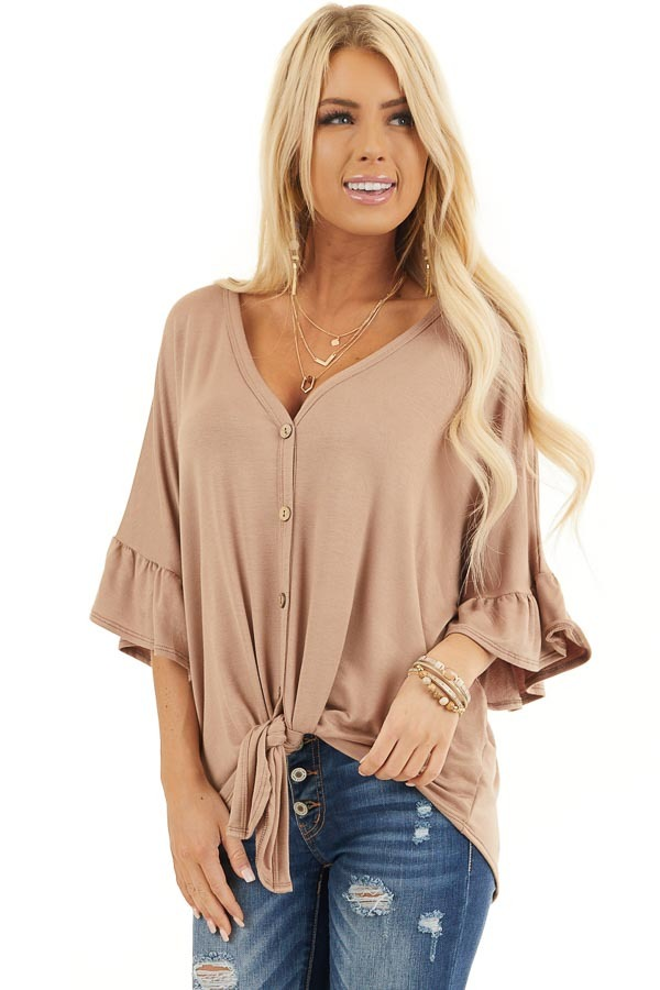 Latte Short Sleeve Knit Top with Button Up Front Detail front close up