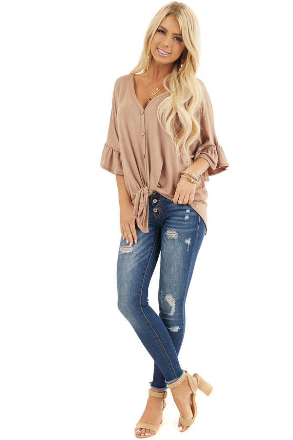 Latte Short Sleeve Knit Top with Button Up Front Detail front full body