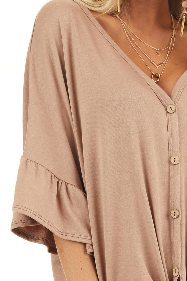 Latte Short Sleeve Knit Top with Button Up Front Detail detail