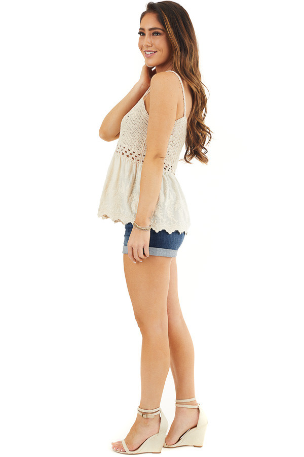 Cream Tank Top with Crochet Bodice and Embroidery Details side full body