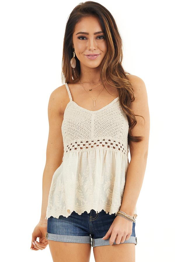 Cream Tank Top with Crochet Bodice and Embroidery Details front close up