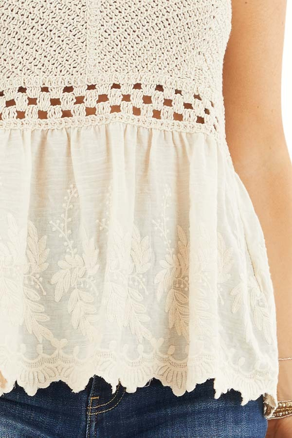 Cream Tank Top with Crochet Bodice and Embroidery Details detail