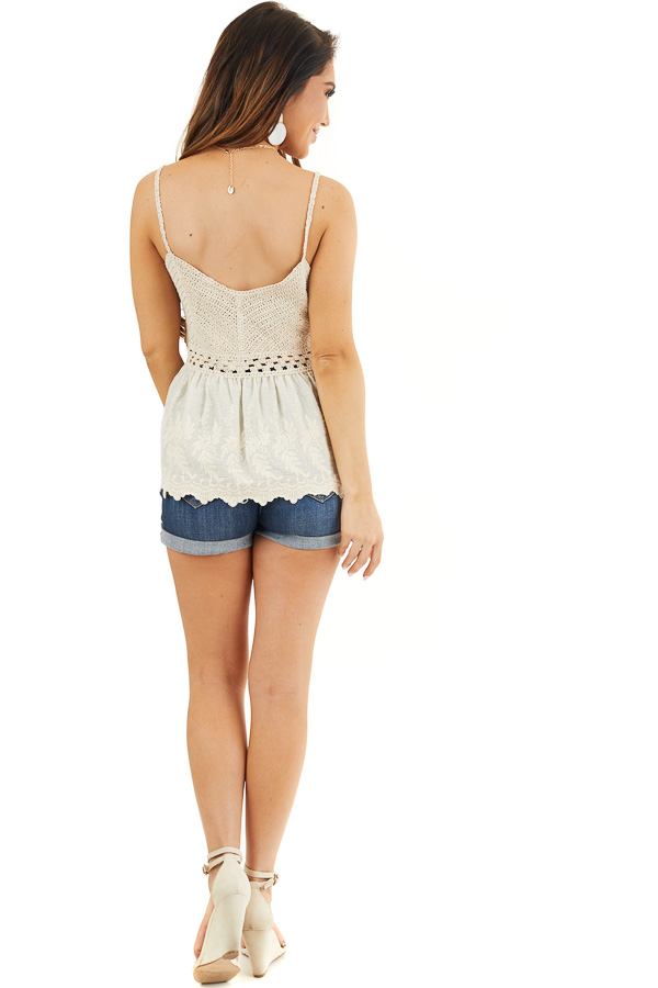 Cream Tank Top with Crochet Bodice and Embroidery Details back full body