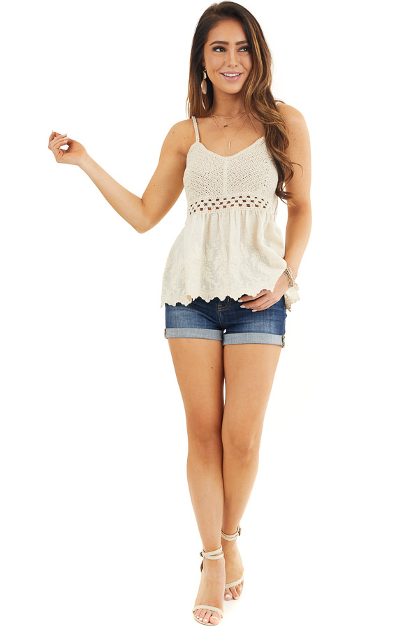 Cream Tank Top with Crochet Bodice and Embroidery Details front full body