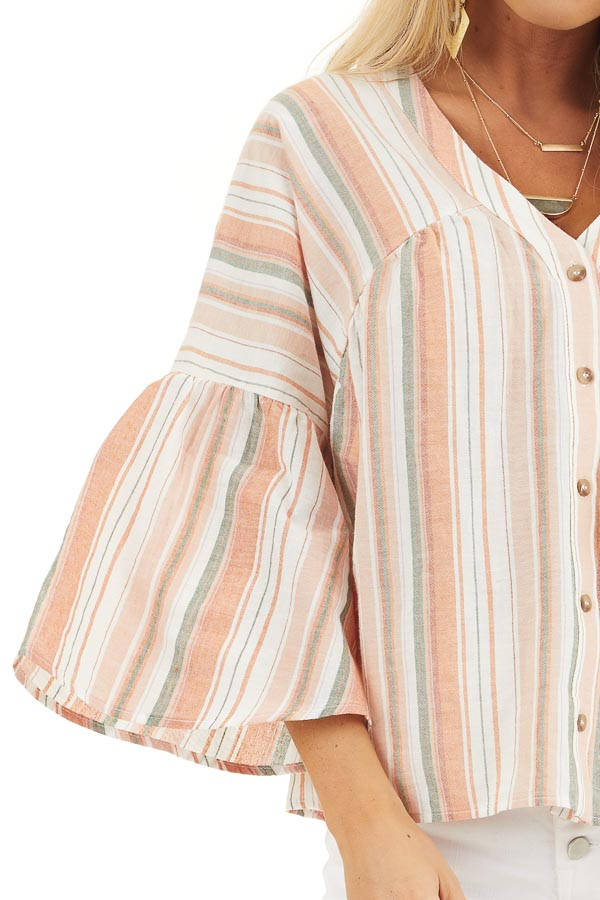 Tangerine Striped Button Up Blouse with Trumpet Sleeves detail