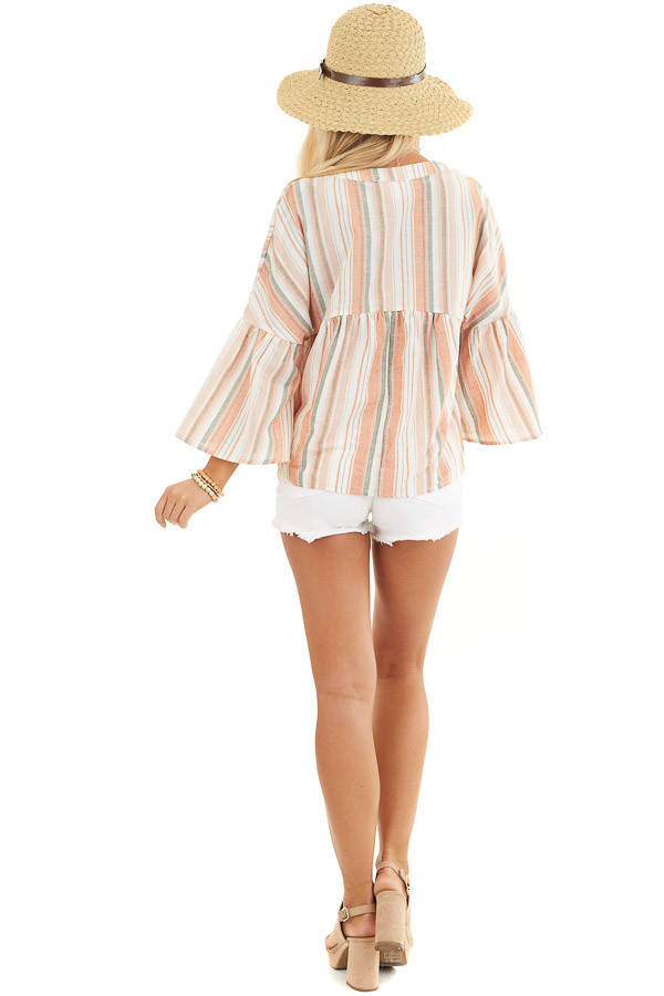Tangerine Striped Button Up Blouse with Trumpet Sleeves back full body