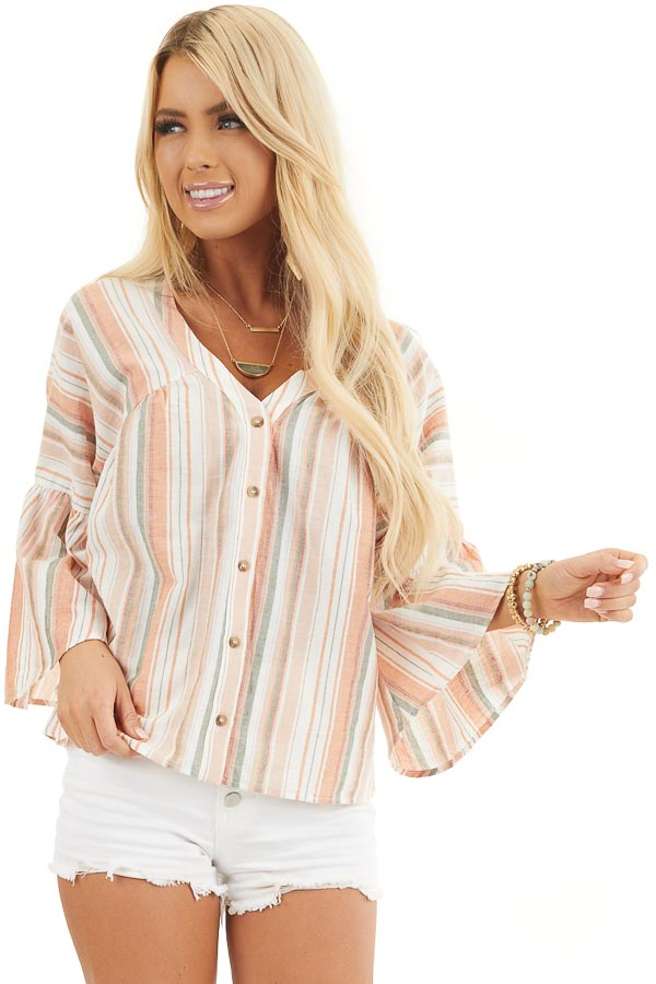 Tangerine Striped Button Up Blouse with Trumpet Sleeves front close up