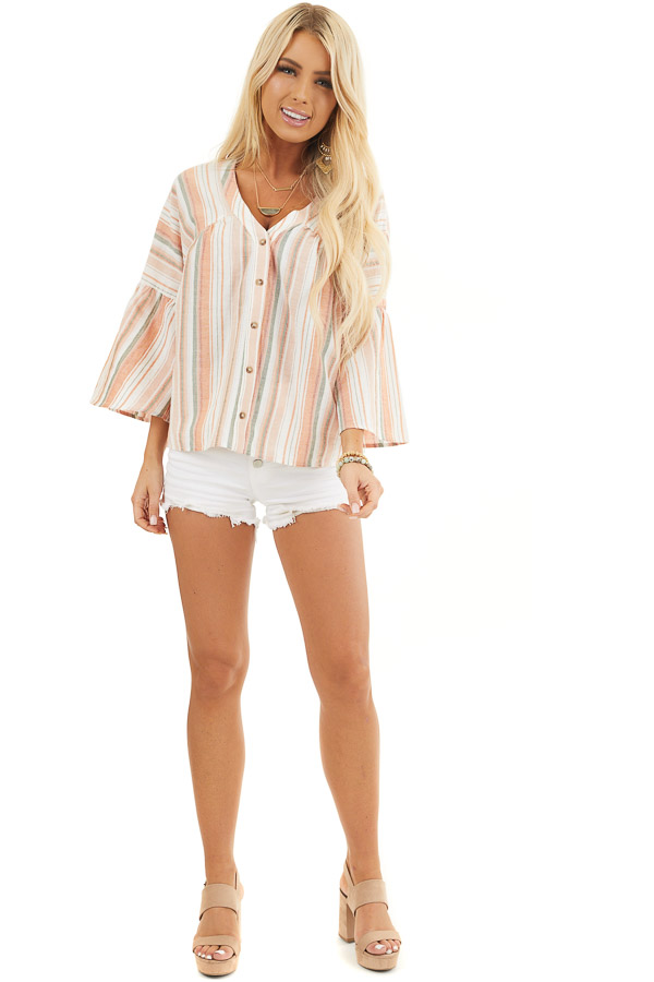 Tangerine Striped Button Up Blouse with Trumpet Sleeves front full body