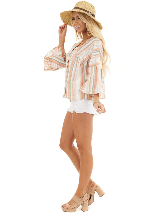 Tangerine Striped Button Up Blouse with Trumpet Sleeves side full body