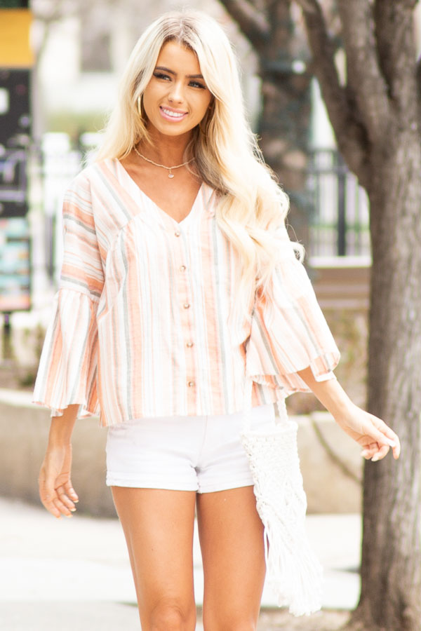 Tangerine Striped Button Up Blouse with Trumpet Sleeves