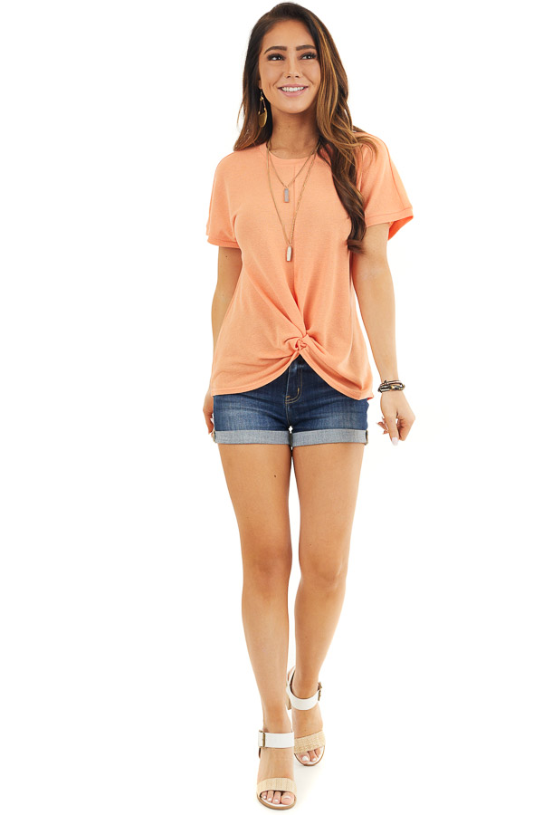 Bright Orange Short Sleeve Knit Top with Front Knot front full body