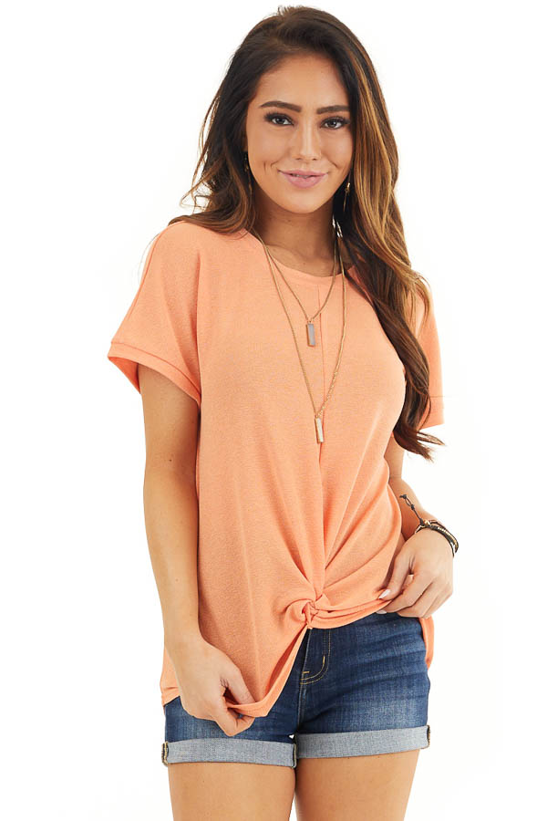 Bright Orange Short Sleeve Knit Top with Front Knot front close up