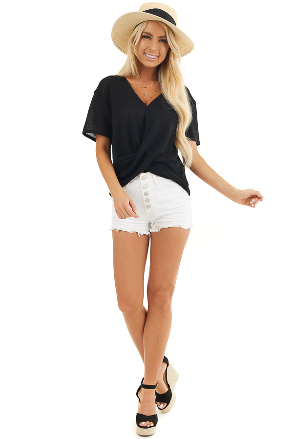 Black V Neck Surplice Top with Short Sleeves and Front Twist front full body