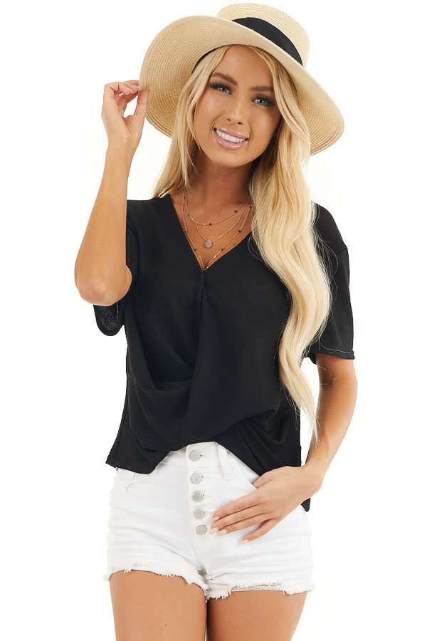 Black V Neck Surplice Top with Short Sleeves and Front Twist front close up