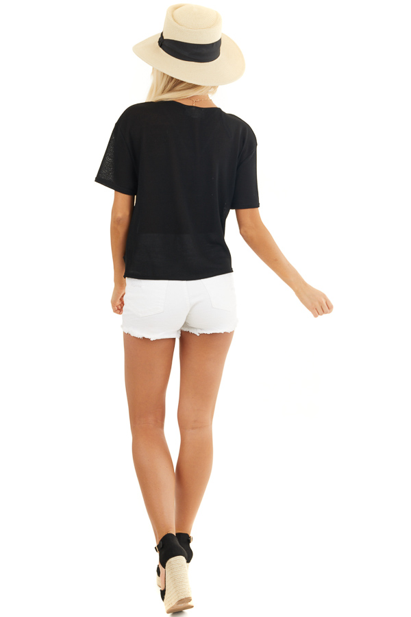 Black V Neck Surplice Top with Short Sleeves and Front Twist back full body