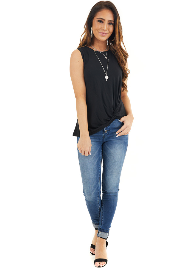 Black Sleeveless Knit Tank Top with Twist Front Detail front full body