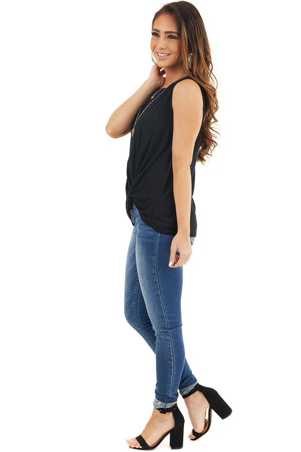 Black Sleeveless Knit Tank Top with Twist Front Detail side full body