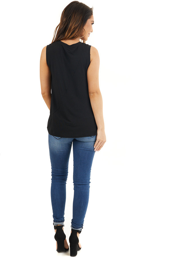Black Sleeveless Knit Tank Top with Twist Front Detail back full body