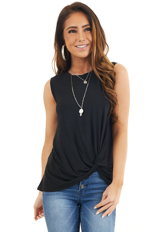 Black Sleeveless Knit Tank Top with Twist Front Detail front close up