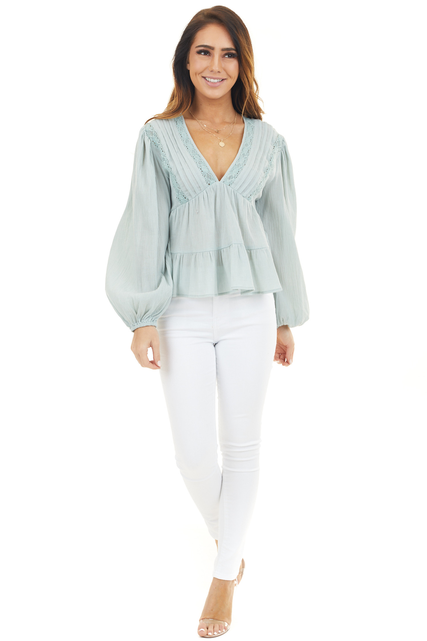 Mint Long Sleeve Babydoll Blouse with Sheer Lace Details